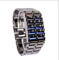 Wholesale Hot fashion Special Price Lava Style Iron Samurai Blue Light Metal Binary LED Watch WY309