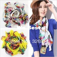 Wholesale New Fall Winter HOT Chiffon Scarf Floral Sunflower print Neck Kerchief Scarf Wrap Pushmina S size cm RJ1504
