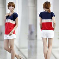 Wholesale 2014 girls chiffon short sleeve t shirts colors patchwork shits women loose blouse girls tops clothes