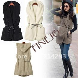 Wholesale Womens Ladie Designer Faux Lamb Fur Long Vest With Belt Color