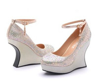 Wholesale 2014 New Shaped with charm rhinestone High heels Women Lady Bridal Wedding Shoes Glass slipper A21