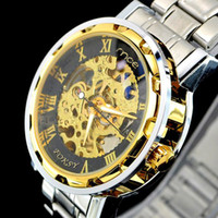 Wholesale New Fahion Gold Skeleton Automatic Mechanical Watch Stainless Steel Mens Watch Wrist Watch Men steel belt Hollow out mechanical wrist watch