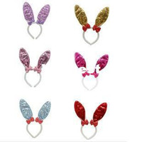Wholesale Halloween Christmas Party costume Cosplay Hairwear accessories Bowknot Glitter Rabbit party Cosplay Headband RJ1795