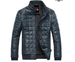 Wholesale Men s jacket zipper Slim Fashion Wadded jacket Pu leather Plus velvet mens jacket men s coat men s clothes Army Green