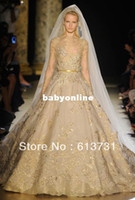 Real Photos Yes Floor-Length Wholesale - Custom Made 2012 Fall Elie Saab Luxurious Long Sleeve Nude Embroidery Ball Gowns Gold Wedding Dresses For Sale GD02