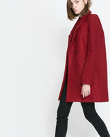 Coats Women Middle_Length Wholesale - Red Women's Fashion Lapel Overcoat Double Button Long Sleeve Woolen Outwear Coat NC2979