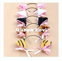 Wholesale Plush Hairwear accessories Cat Ears Headband Leopard Tiger Bell Hair Headbands Halloween Cosplay hair accessory RJ1781