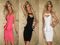 Casual Dresses Strapless Knee Length Free Shipping Lowest Price New Fashion 2013 Sexy Hollow-out Chest Peplum Dress One Piece Dresses White Black Pink LB5162
