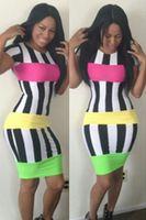 Wholesale New Fashion Bandage Dress Sexy Plus Size Women Clothing Vestido Stripe Bodycon Dress Party Club Casual Dress