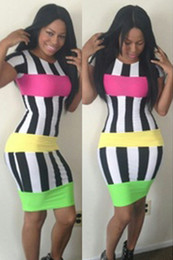 Wholesale New Fashion Bandage Dress Sexy Plus Size Women Clothing Vestido Stripe Bodycon Dress Party Club Casual Dress