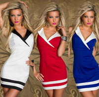 Wholesale 2013 New Clothes Women Ladies Sexy Deep V Cotton And Spandex Clubwear Dress Mini Short Casual Dress Blue Red White