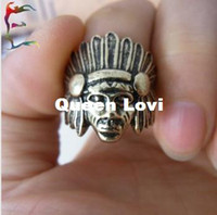 Wholesale Fashion accessories Gift Vintage Indian portrait Marverni Chieftain Chiefs alloy finger Ring RJ1273