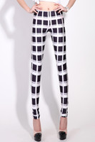 Wholesale 2013 Popular Plaid Board Printed Black And White Squares Comfortable Milk Silk Womens Leggings Pants LB13491