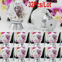 Ceramic Furniture Handle & Knob TK0736# 32Pcs Lot Wholesale 30mm White Glass Crystal Cabinet Drawer Knob Kitchen Pull Handle Door Wardrobe Cupboard Knob TK0736