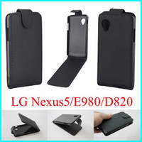 Wholesale 2014 New Black Leather Flip Cover Case for LG Nexus5 E950 D820 Vertical Flip Skin Cover Open Up And Down