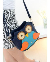 Wholesale New arrival women s preppy style handbag color block cartoon owl messenger bag Youshop2012