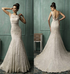 2014 New Illusion Jewel Neck Lace Backless Mermaid Wedding Dresses Ruffles Bridal Gown AmeliaSposa Collection Covered Button Wedding Dress
