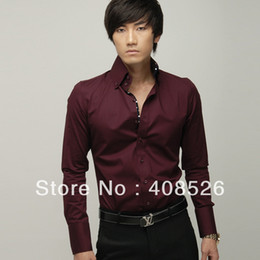 Wholesale 5pcs Men s Casual Shirts Slim Fit Stylish Dress shirt Red Color size M L XL
