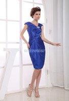 Wholesale party dress royal blue new design tarik ediz evening dress train beading brides maid dress short sexy Cocktail Dresses