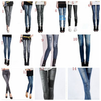 Wholesale for spring autumn wearing fashion faux Denim Jeans leggings women girl Sexy Jeggings Tights Skinny Pants Jeans Legging bottoms