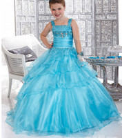 Wholesale 2014 Beautiful Flower Girls Dresses Ball Gown Square Floor Length Girl Gowns Appliques Beads Tiered Ruffles Rhinestone Girl Dress Organza