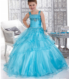 Wholesale 2014 Beautiful Flower Girls Dresses Ball Gown Square Floor Length Girl Gowns Appliques Beads Tiered Ruffles Rhinestone Kid Dress Organza