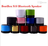 Wholesale ZZ Free DHL S10 Metal Mini Portable BeatBox Hi Fi Bluetooth Wireless Speaker TF Slot Handfree Mic Stereo Portable Speakers For iPhone iPad
