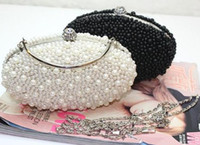 Beaded beaded hand bag - 2014 White Gorgeous Pearl Bridal Evening Clutch Bags Double Faced Pearl Wedding Clutch Hand Bags