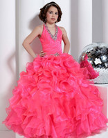 Wholesale 2014 Beautiful Flower Girls Dresses Ball Gown Halter Floor Length Girl Gowns Appliques Beads Tiered Ruffles Rhinestone Kid Dress Chiffon