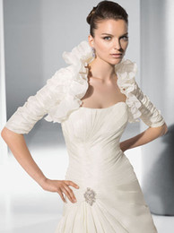 Wholesale Custom Made Taffeta Ivory Wedding Dresses Jacket Bridal Gowns Jacket With Long Sleeve Ruffles