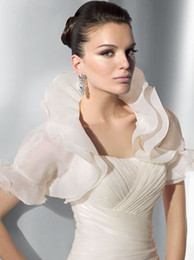 Wholesale 2014 Ivory Organza Short Sleeve Wedding Dresses Jacket Ruffles Bridal Gowns Jacket Custom Made