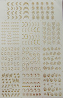 Wholesale Designs Gold Metal Nail art stickers Water Decals Set Big Sheet