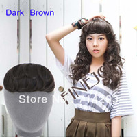 Wholesale New Korean Women s Clip In Bang Fringe Hairpiece Hair Extension Body Wavy Dark Brown color