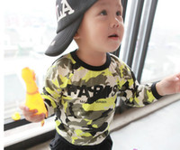 Wholesale Spring Children Clothes Europe America Fashion Camouflage Baby Long Sleeve T Shirt Kid s Boy Girl Tshirts Toddler Tshirt Wear QZ471