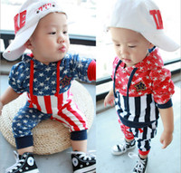 Unisex Spring / Autumn Long Free EMS DHL 0-3Year Toddler Baby's Clothing Fashion M Flag Baby Boy Girl Casual Sport Set Kids Suits Children Set Outfits Wear QZ472