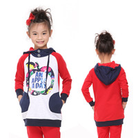 Spring / Autumn beaded hoodie - F4529 Nova new arrival y y baby girls hooded hoodies cotton French terry lovely apple beaded kids casual long sweatshirts