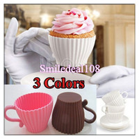 Baking Cups cupcakes cases - 4pcs Set Silicone Cupcake Cups Mold Cake Muffin Baking Mould Chocolate Tea Cup Case Saucers