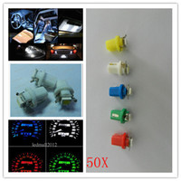 SMD SMT LED Bulbs base indicators - 50pcs DC T5 B8 SMD Dashboard Indicator Instrument Base Light dome bright lamp car light Car Wedge Light V