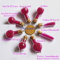 Cheap 100 Wholesale lots MIX Glass bottle vial cork perfume pendant oil bottle handmade vials