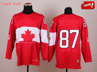 Ice Hockey Men Full 2014 Olympic Canada Jerseys Red 87 Crosby Team Canada Jerseys Top Stitched Hockey Wears with Gold Leafs New Season Olympic Hockey Jerseys