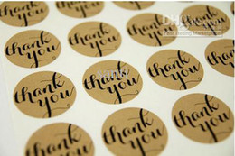 Wholesale Thank You Typeface Brown Kraft Stickers For Envelopes Card