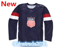 Ice Hockey Men Full 2014 Unveils the USA Hockey Jerseys for the Olympics Navy Blue Sports Shirts Embroidery Sports Jerseys Wholesale Olympics Hockey Jerseys