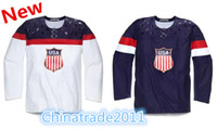 Ice Hockey Men Full 2014 Unveils the USA Hockey Jerseys for the Olympics Drop Ship Sports Shirts Embroidery Sports Jerseys Wholesale Olympics Hockey Jerseys
