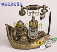 Wholesale classic bronze Buddha retro phone battery free speakerphone antique telephones highest cost upscale gift