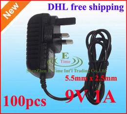 New High Quality AC 100-240V to DC 9V 1A Power Adapter Supply 9V 1000mA adaptor 5.5mm x 2.5mm UK Plug 100pcs Lot DHL Free shipping