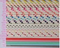 Wholesale 60 colors optional Drinking Paper Straws Sip Sticks wedding party straws Striped poka dot