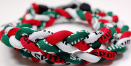 Promotion - 400PCS Lot Baseball Sports Titanium 3 Rope Braided White Dark Green Red White Sport GE Necklace RT005