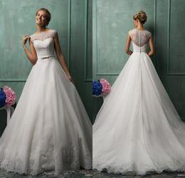 Wholesale 2014 Amelia Sposa Best Selling A Line Jewel Chapel Train White Organza Lace Wedding Dresses Illusion Back Wedding Gowns Bridal