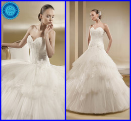 Wholesale New Arrival Junoesque Pageant Special Sweetheart Beads Applique Tiers Net Sweep Train Net Ball Gown Wedding Dress