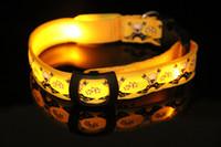 120pcs free shipping, Skull partten Nylon Pet LED dog collars...